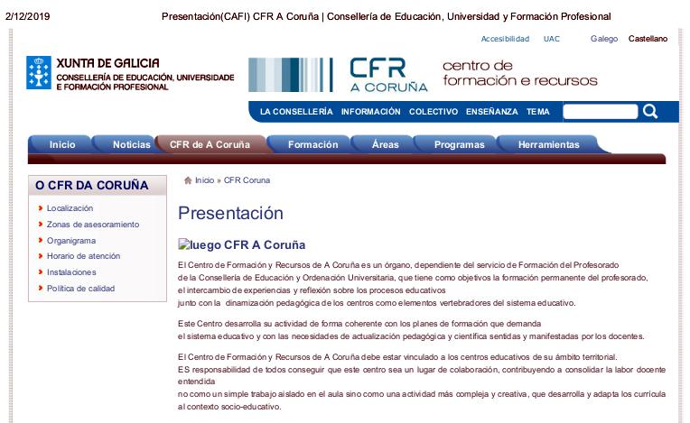 Presentación(CAFI) CFR A Coruña _ Consellería de Educación, Universidad y Formación Profesional
